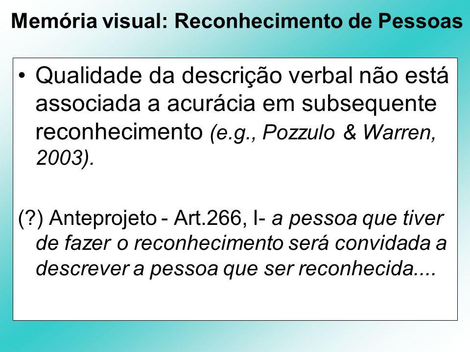 Memória visual: Reconhecimento de Pessoas