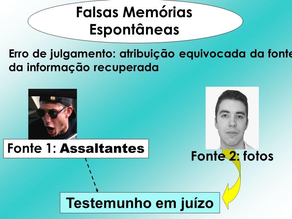 Falsas Memórias Espontâneas Testemunho em juízo Fonte 1: Assaltantes