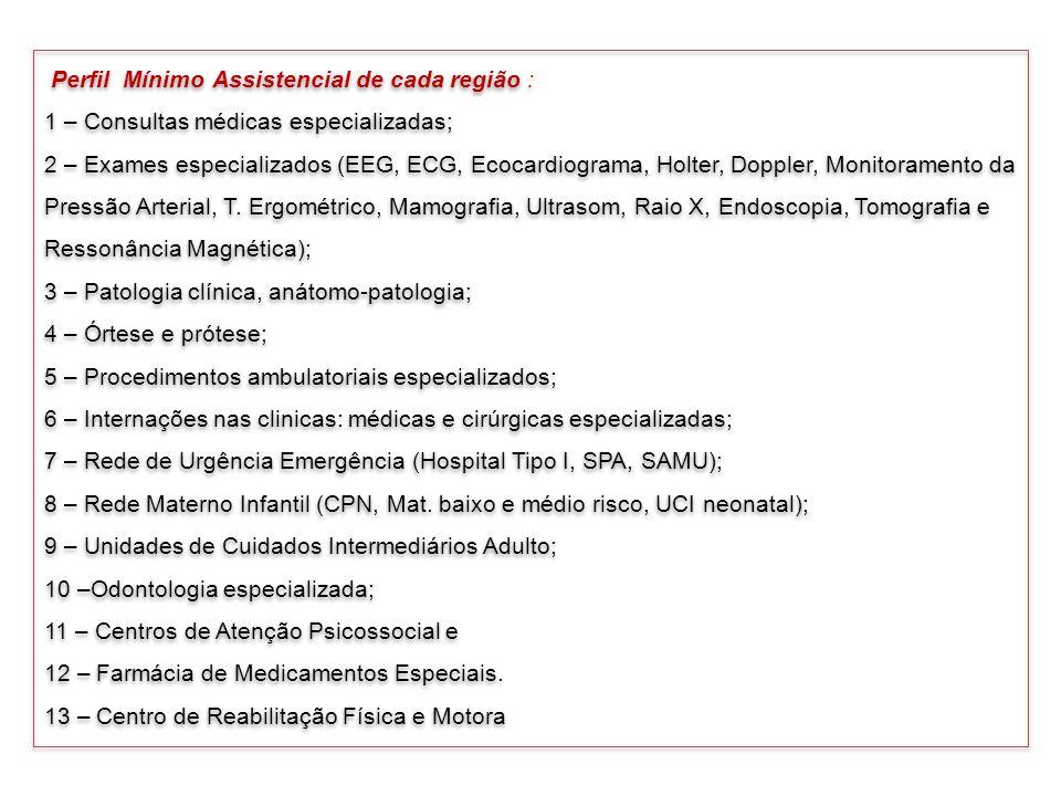 Perfil Mínimo Assistencial de cada região :