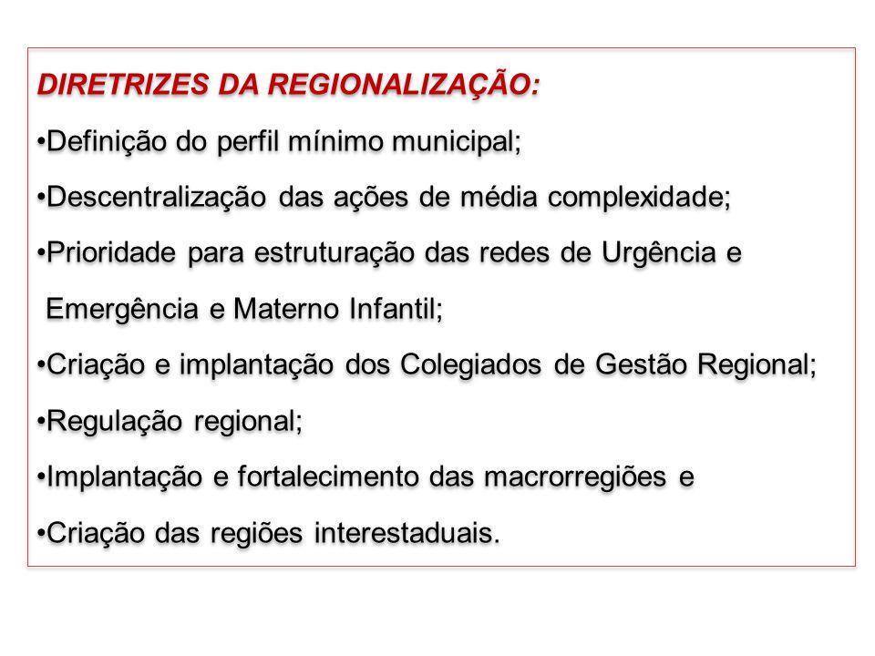 DIRETRIZES DA REGIONALIZAÇÃO: