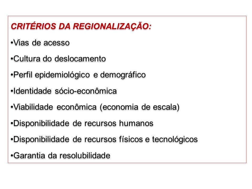 CRITÉRIOS DA REGIONALIZAÇÃO: