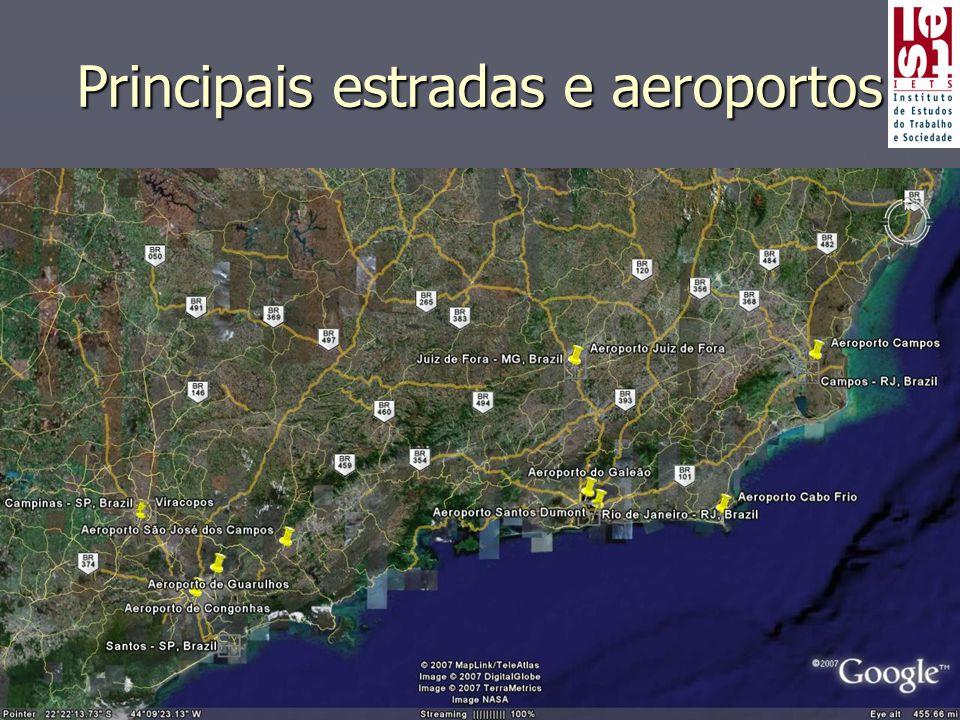Principais estradas e aeroportos