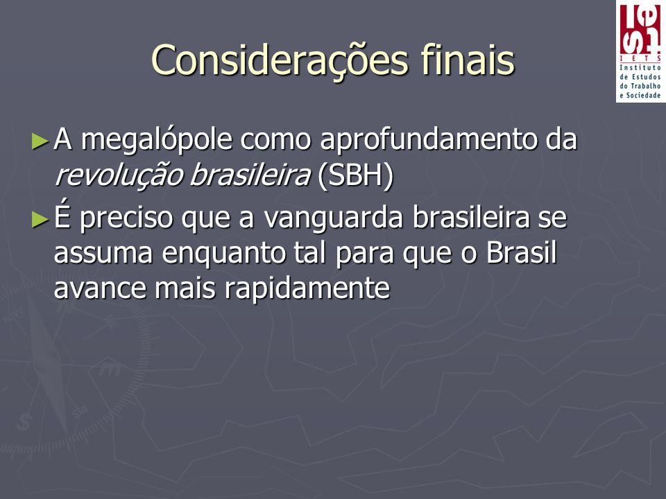 Considerações finais A megalópole como aprofundamento da revolução brasileira (SBH)