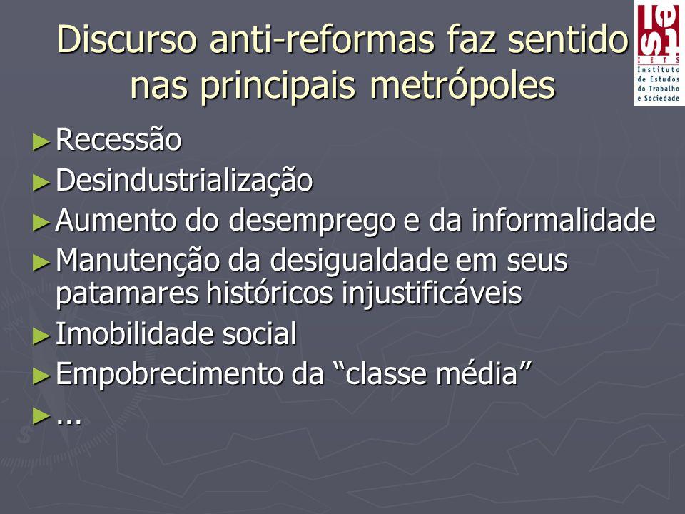 Discurso anti-reformas faz sentido nas principais metrópoles