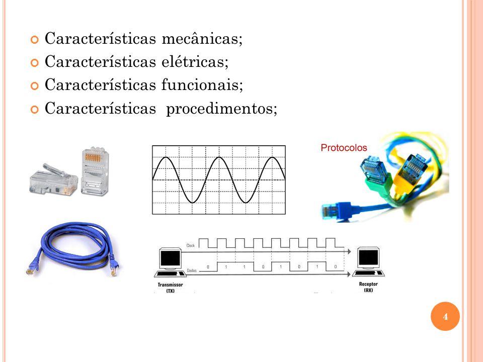 Características mecânicas; Características elétricas;