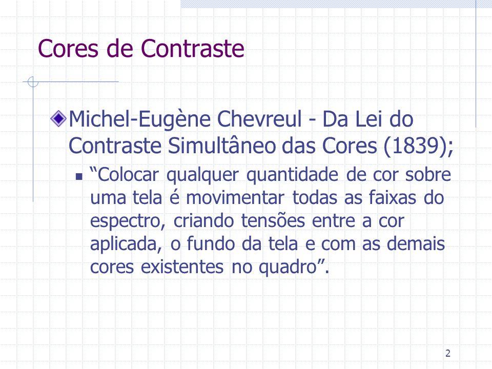 Cores de Contraste Michel-Eugène Chevreul - Da Lei do Contraste Simultâneo das Cores (1839);