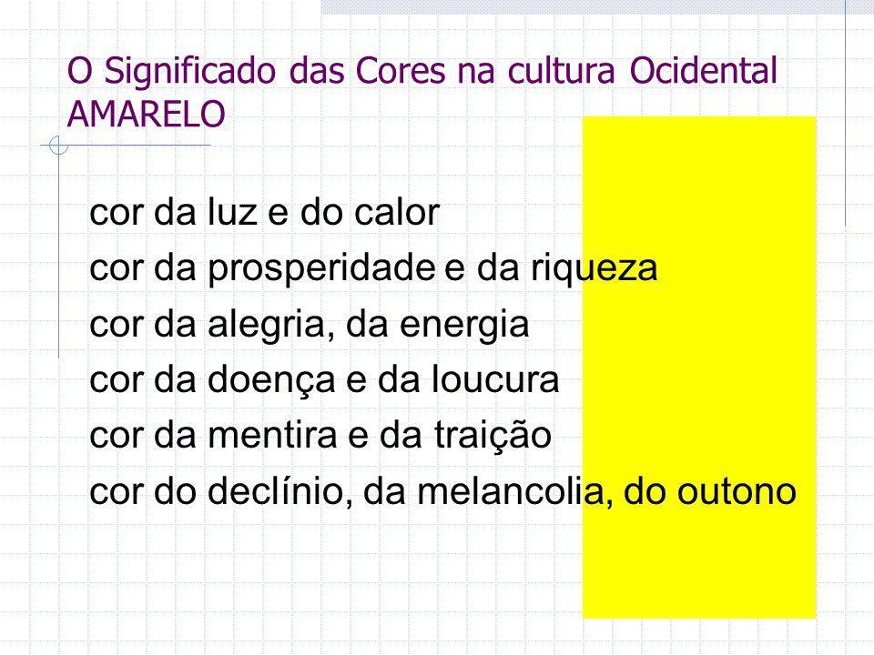 O Significado das Cores na cultura Ocidental AMARELO