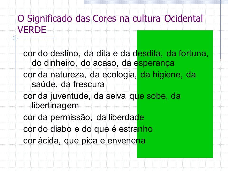 O Significado das Cores na cultura Ocidental VERDE