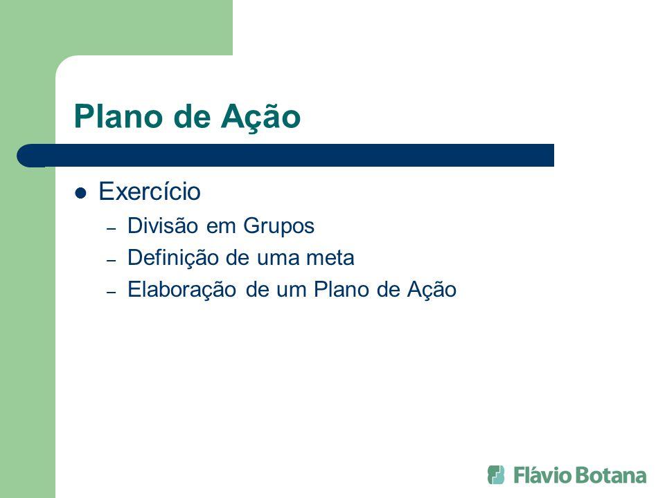 Plano de Ação Exercício Divisão em Grupos Definição de uma meta