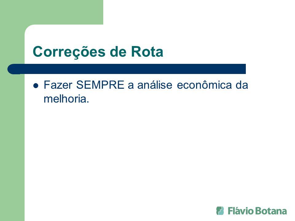 Correções de Rota Fazer SEMPRE a análise econômica da melhoria.