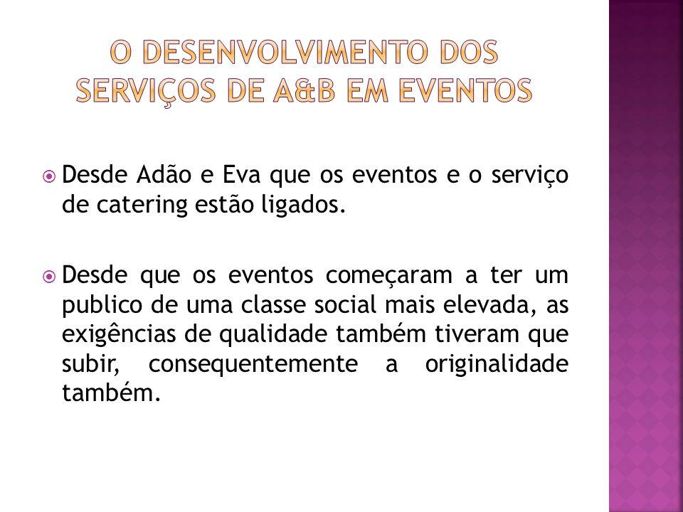 O desenvolvimento dos serviços de A&B em Eventos