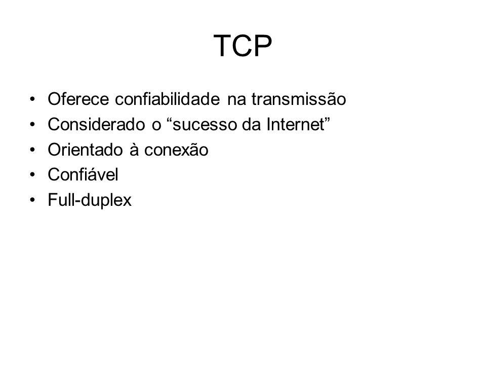 TCP Oferece confiabilidade na transmissão