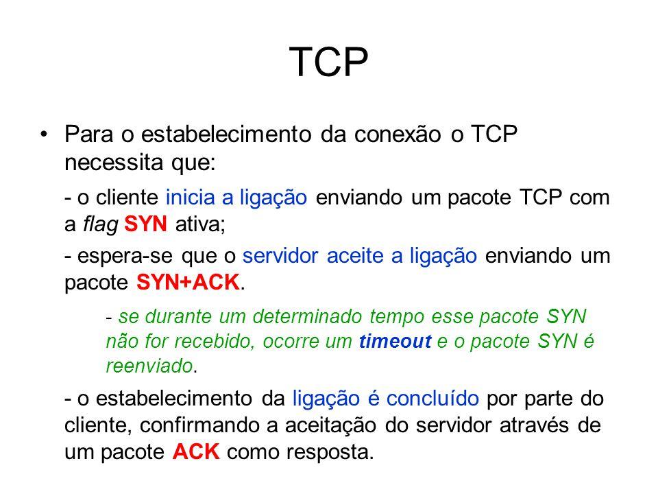 TCP Para o estabelecimento da conexão o TCP necessita que: