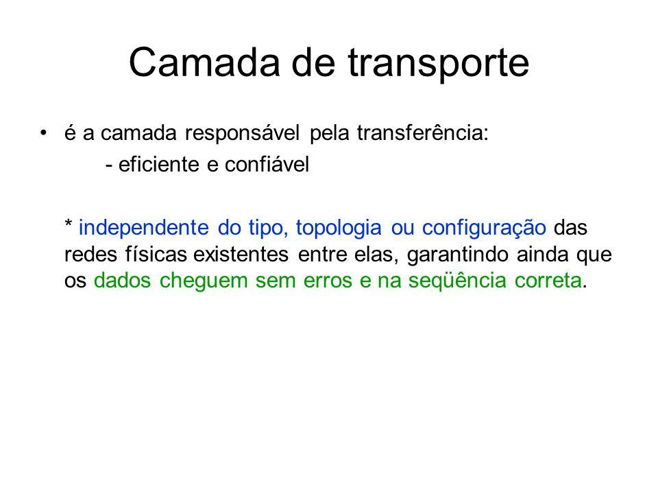 Camada de transporte é a camada responsável pela transferência: