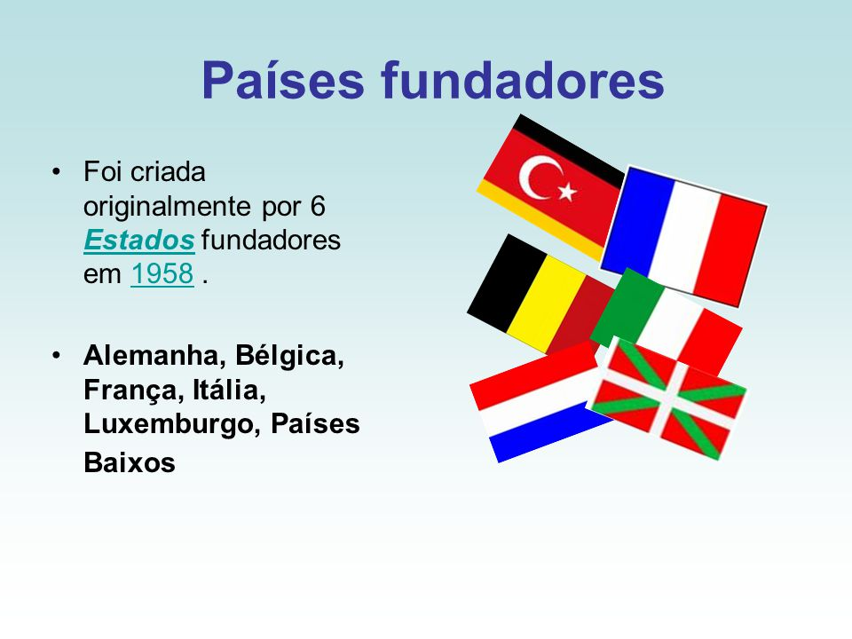 Países fundadores Foi criada originalmente por 6 Estados fundadores em 1958 .