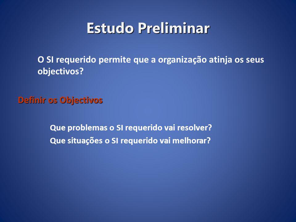 Estudo Preliminar O SI requerido permite que a organização atinja os seus objectivos Definir os Objectivos.