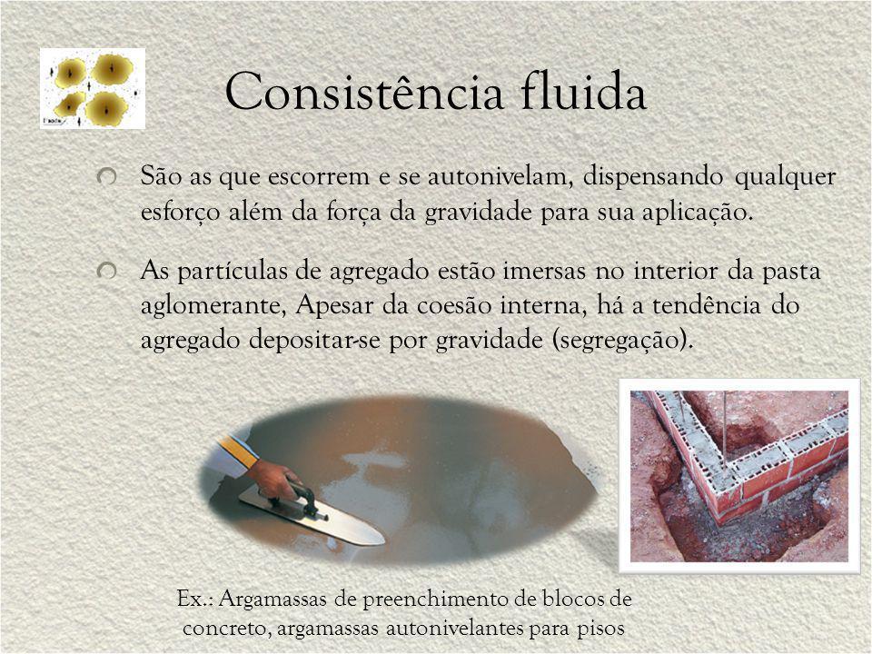 Consistência fluida São as que escorrem e se autonivelam, dispensando qualquer esforço além da força da gravidade para sua aplicação.