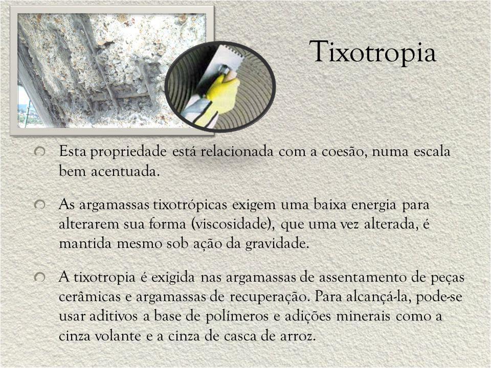 Tixotropia Esta propriedade está relacionada com a coesão, numa escala bem acentuada.