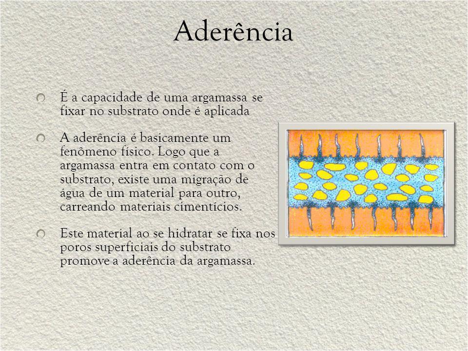 Aderência É a capacidade de uma argamassa se fixar no substrato onde é aplicada.
