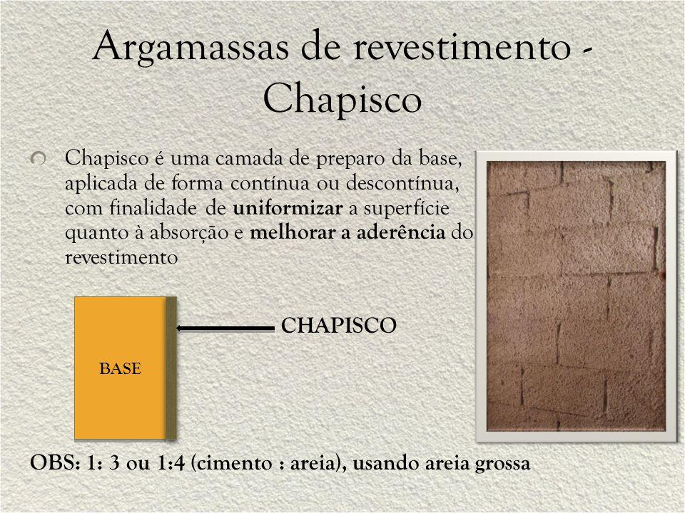 Argamassas de revestimento - Chapisco