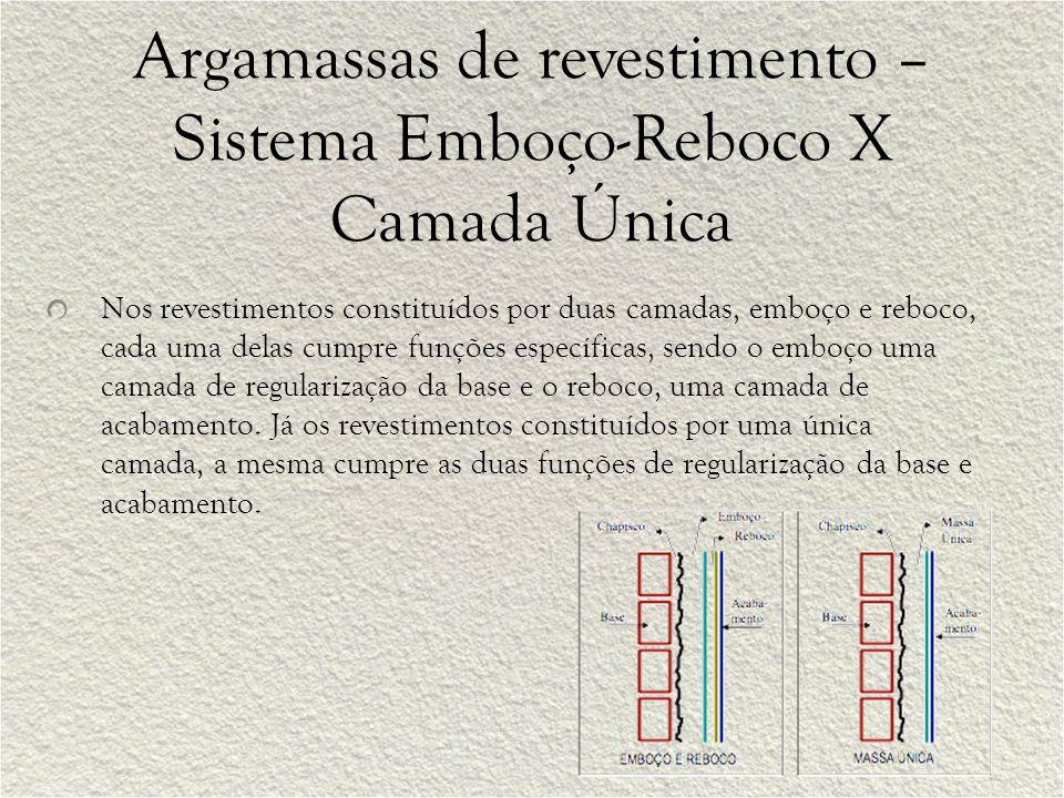 Argamassas de revestimento – Sistema Emboço-Reboco X Camada Única