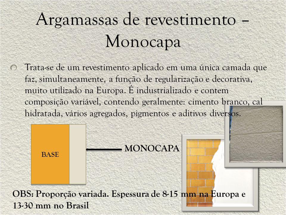 Argamassas de revestimento – Monocapa