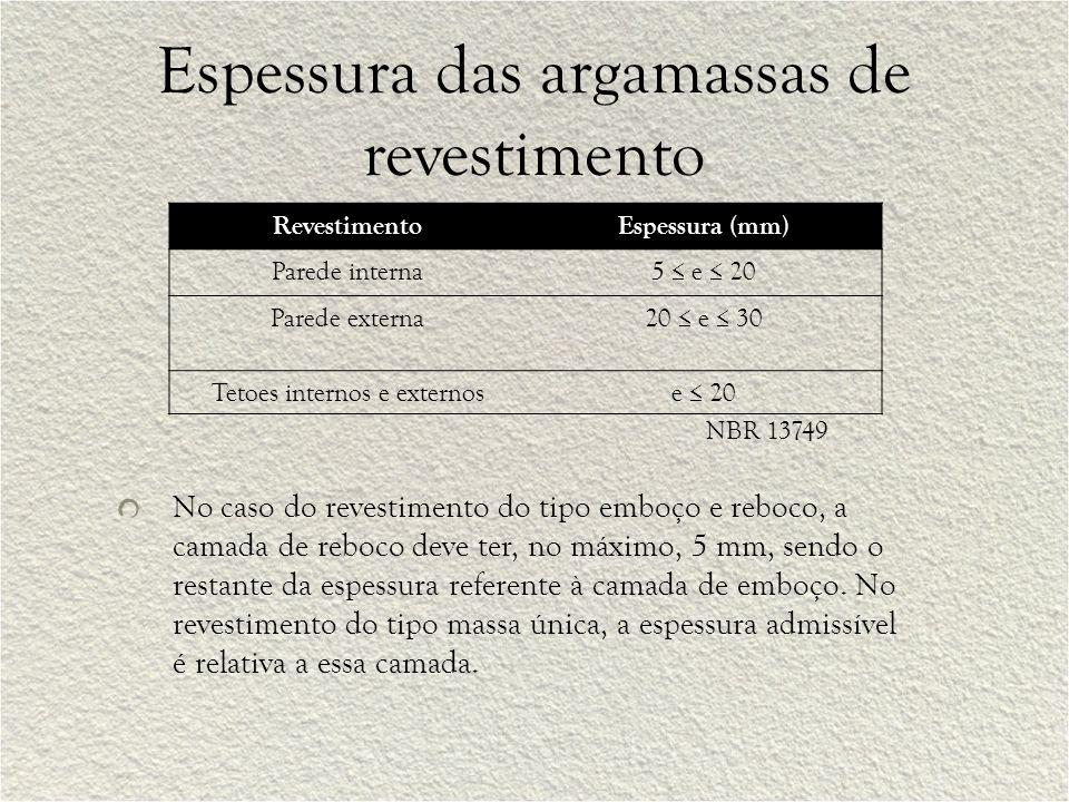 Espessura das argamassas de revestimento