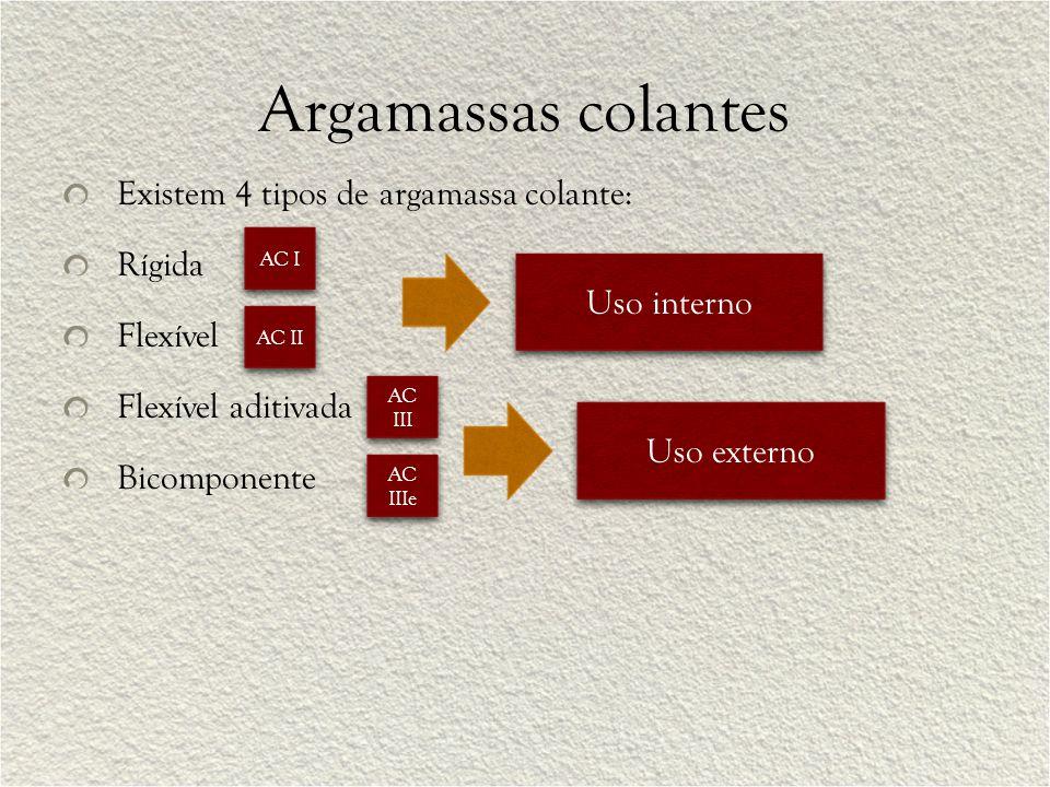 Argamassas colantes Existem 4 tipos de argamassa colante: Rígida