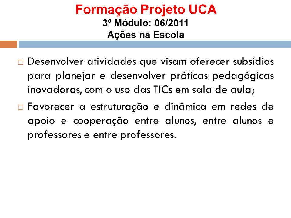 Formação Projeto UCA 3º Módulo: 06/2011 Ações na Escola