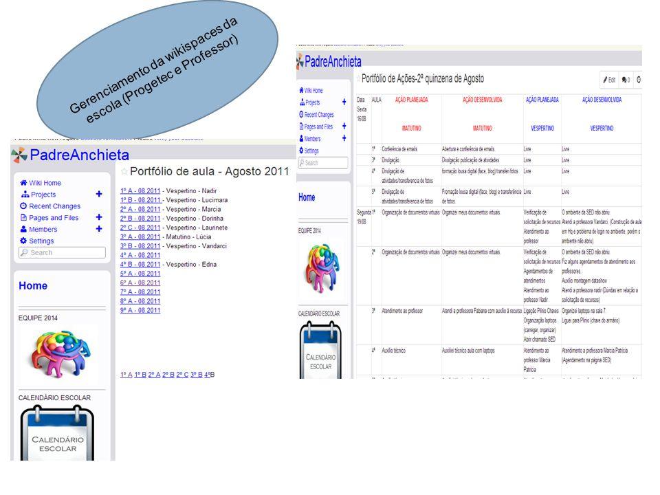 Gerenciamento da wikispaces da escola (Progetec e Professor)