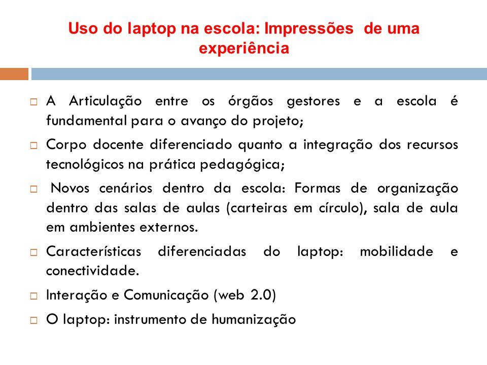 Uso do laptop na escola: Impressões de uma experiência