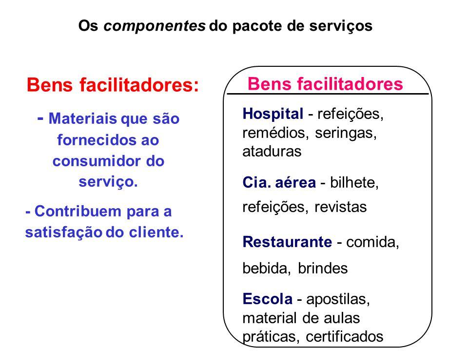 - Materiais que são fornecidos ao consumidor do serviço.