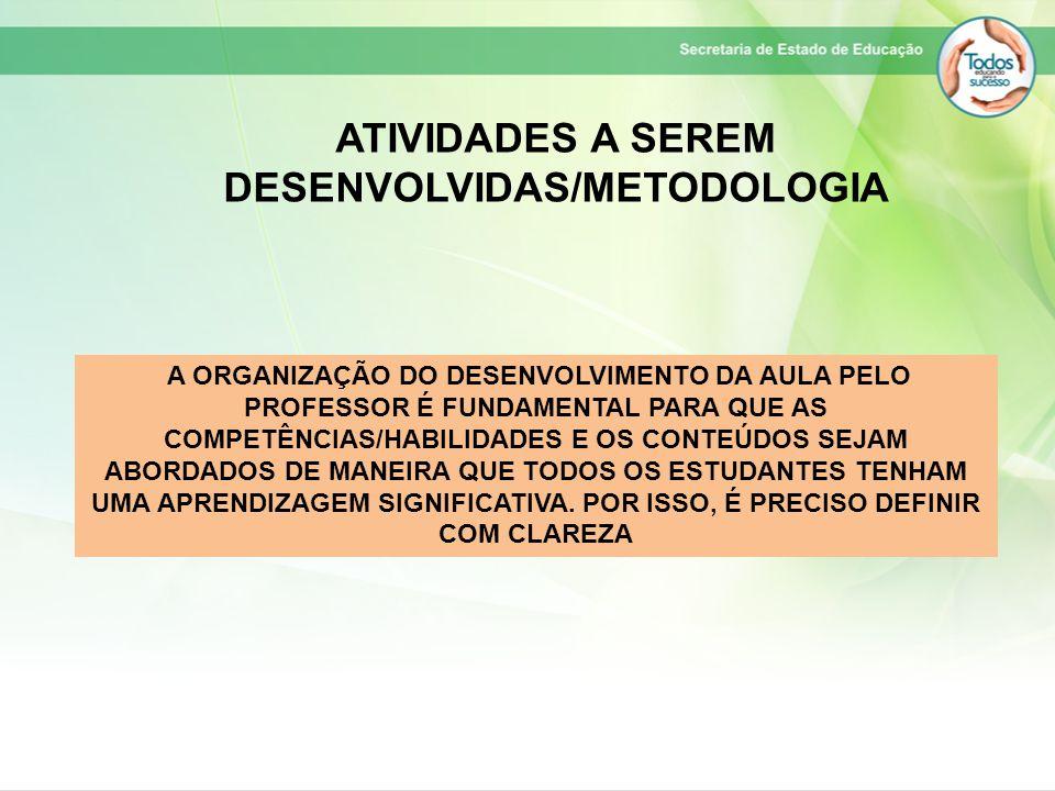 ATIVIDADES A SEREM DESENVOLVIDAS/METODOLOGIA