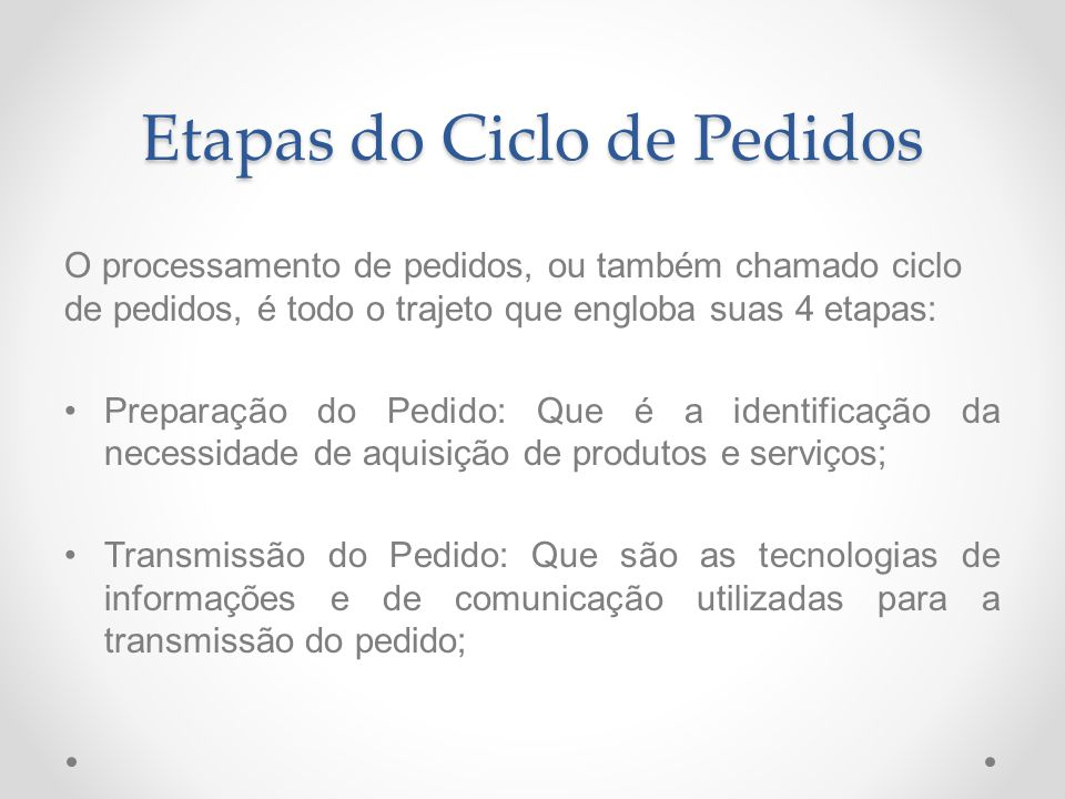 Etapas do Ciclo de Pedidos