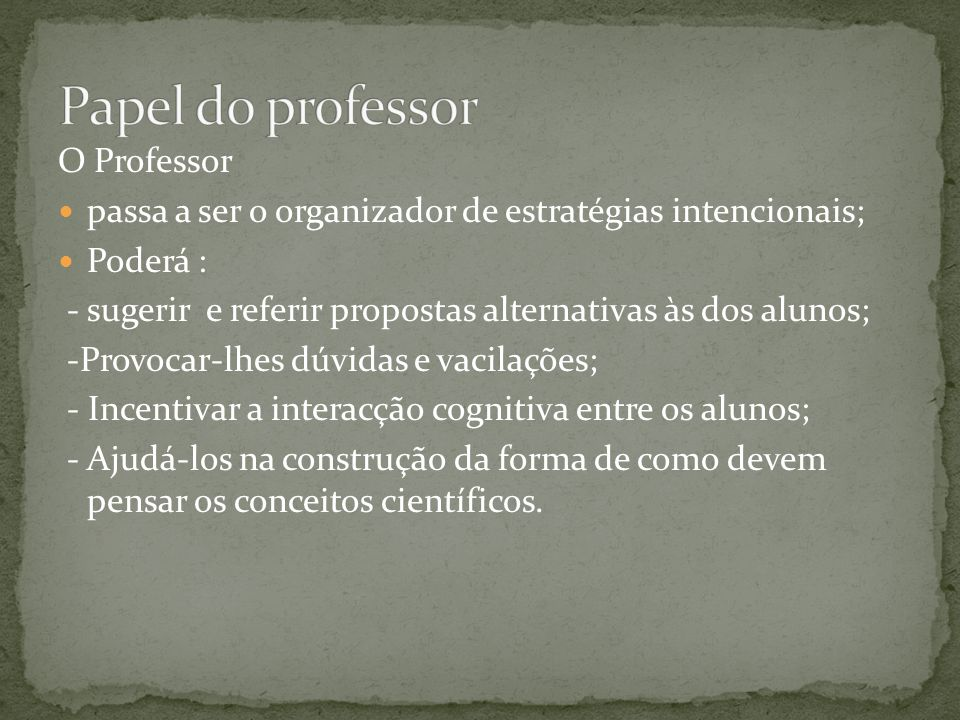 Papel do professor O Professor