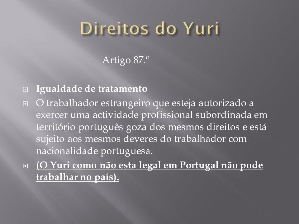 Direitos do Yuri Artigo 87.º Igualdade de tratamento