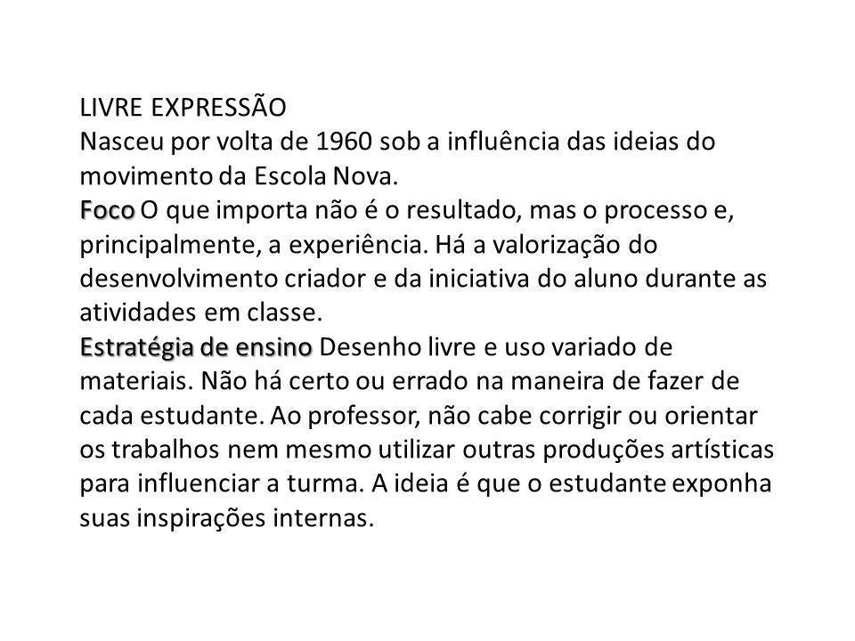 LIVRE EXPRESSÃO Nasceu por volta de 1960 sob a influência das ideias do movimento da Escola Nova.