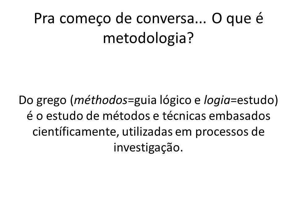Pra começo de conversa... O que é metodologia