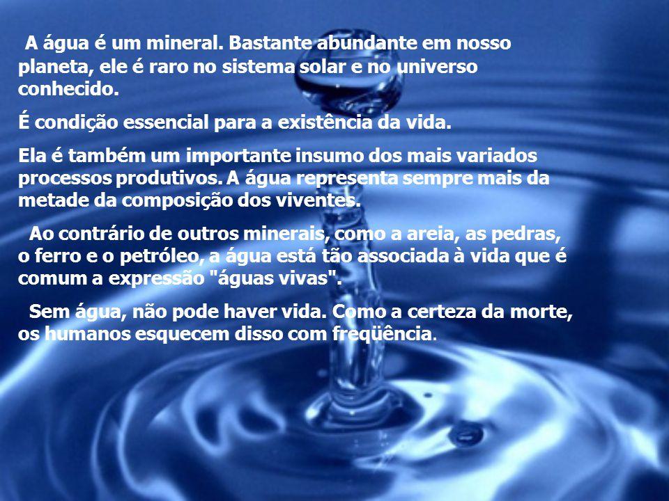 A água é um mineral. Bastante abundante em nosso planeta, ele é raro no sistema solar e no universo conhecido.