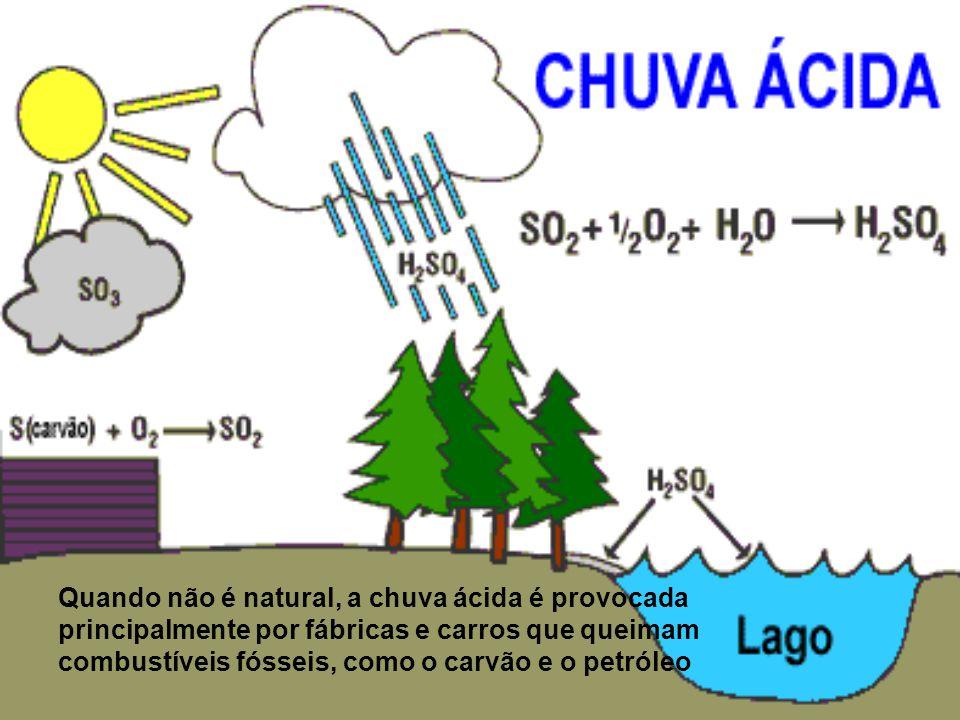 Quando não é natural, a chuva ácida é provocada principalmente por fábricas e carros que queimam combustíveis fósseis, como o carvão e o petróleo