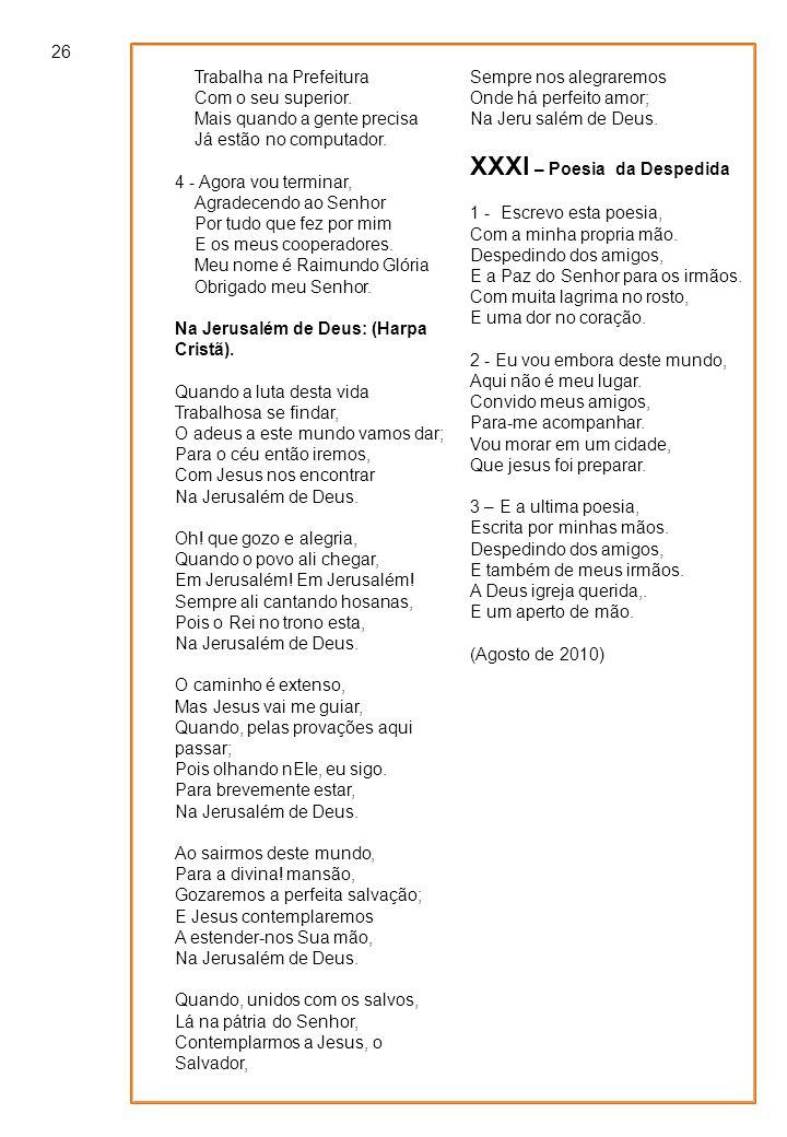XXXI – Poesia da Despedida