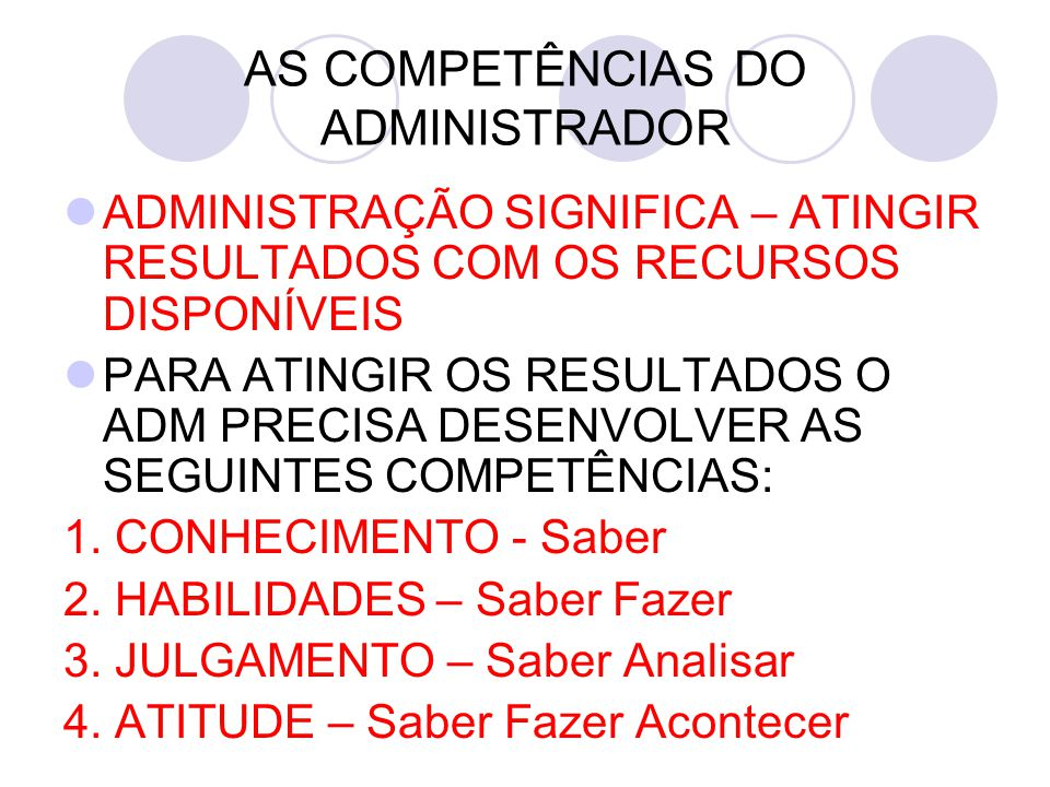 AS COMPETÊNCIAS DO ADMINISTRADOR