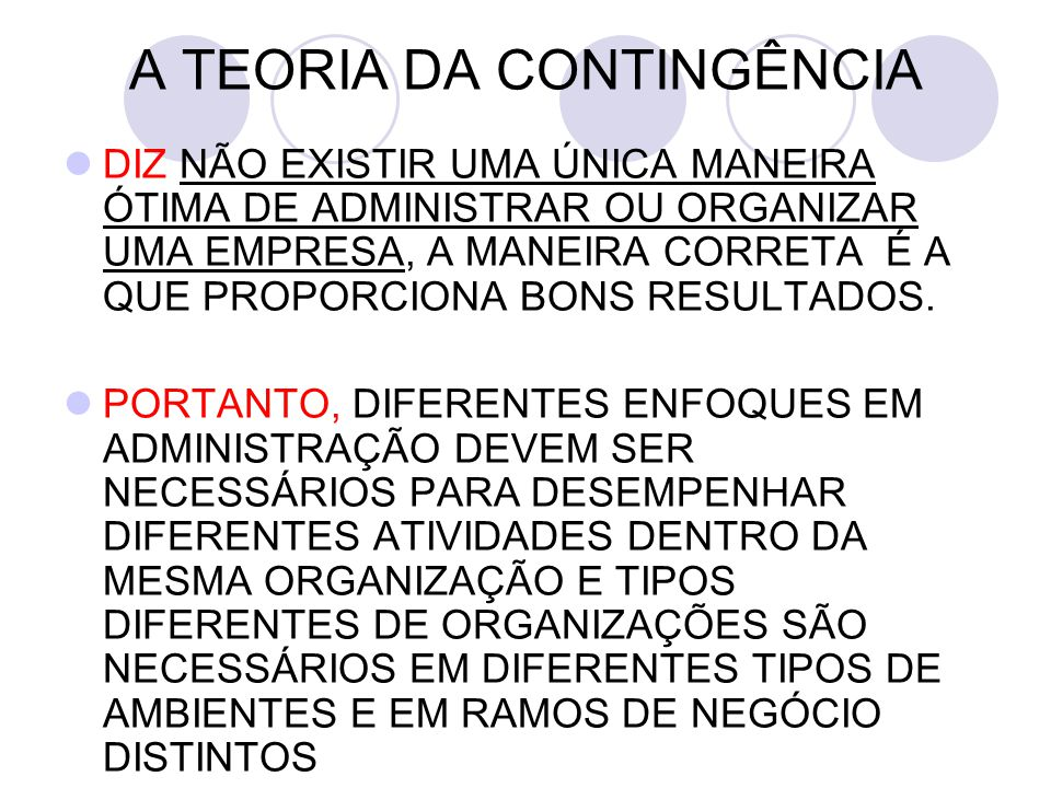 A TEORIA DA CONTINGÊNCIA
