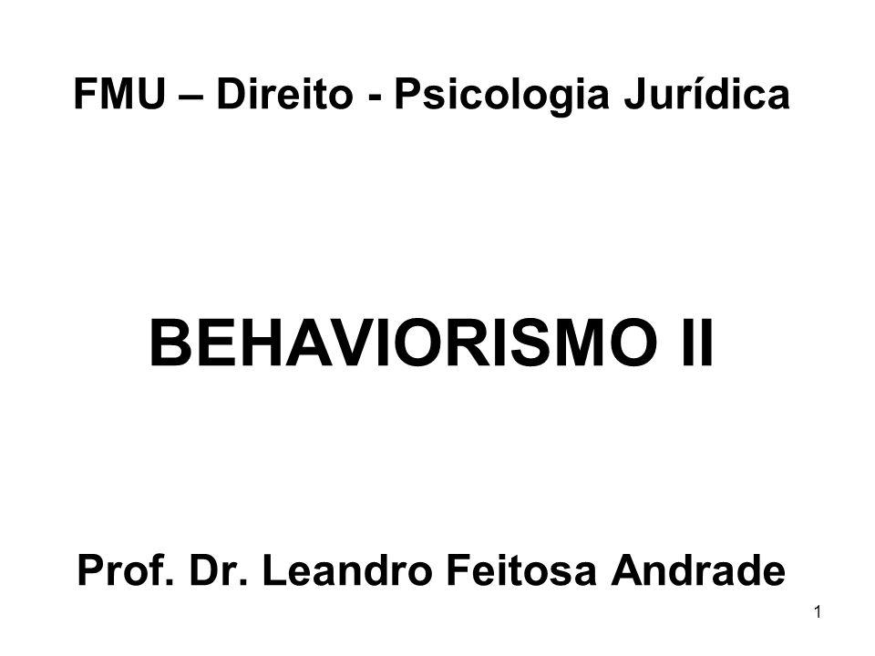 FMU – Direito - Psicologia Jurídica BEHAVIORISMO II Prof. Dr