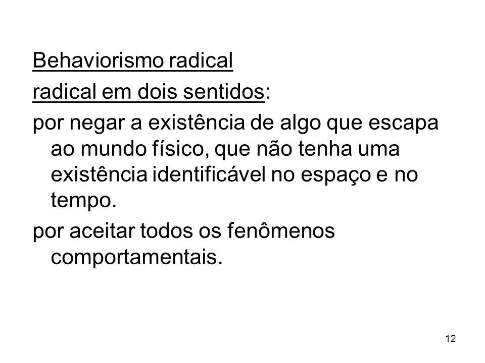 Behaviorismo radical radical em dois sentidos: