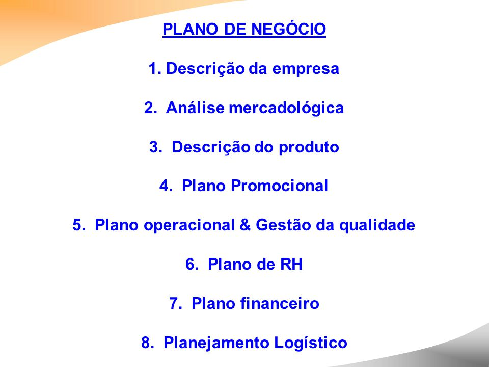 2. Análise mercadológica 3. Descrição do produto 4. Plano Promocional