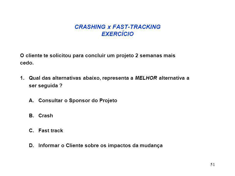 CRASHING x FAST-TRACKING EXERCÍCIO