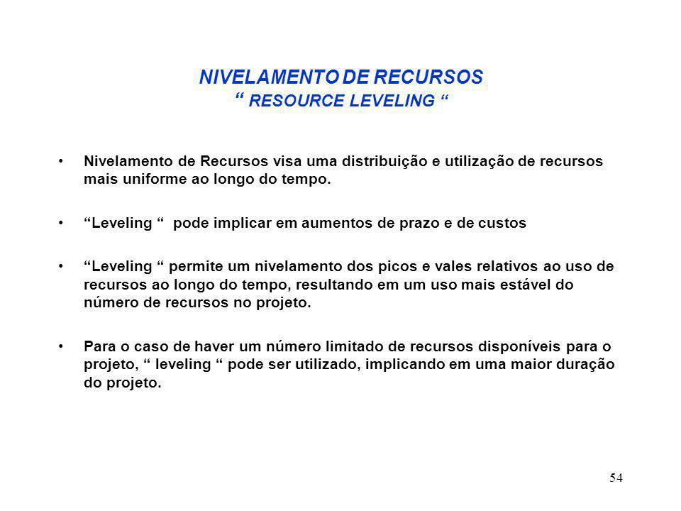 NIVELAMENTO DE RECURSOS RESOURCE LEVELING