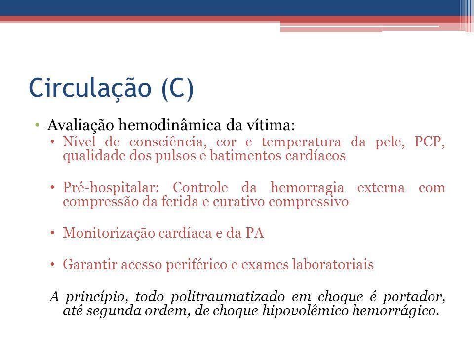 Circulação (C) Avaliação hemodinâmica da vítima:
