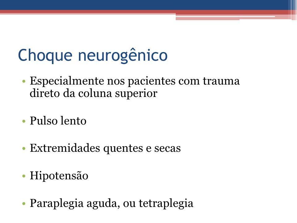 Choque neurogênico Especialmente nos pacientes com trauma direto da coluna superior. Pulso lento.